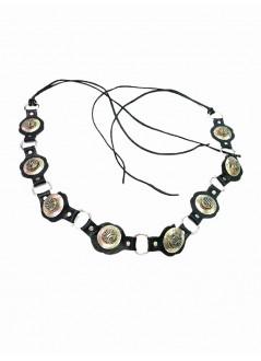Corona de hojas y rhinestones de cristal