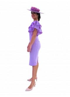 Falda larga de crep con botones beige