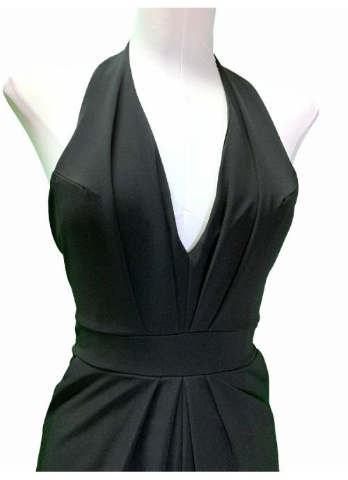 Vestido de punto terciopelo manga abullonada