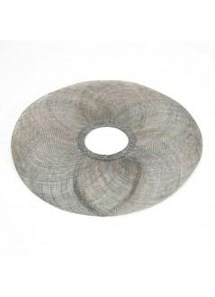 TOCADO maxi apaleado beige con lazadas y plumas de faisan