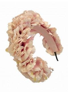 Diadema de sinamay seda nudo flores pasta