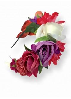 Tocado  pequeño crin  con flor, velo y plumas beig